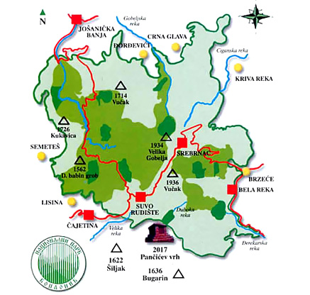 Map of national park Kopaonik